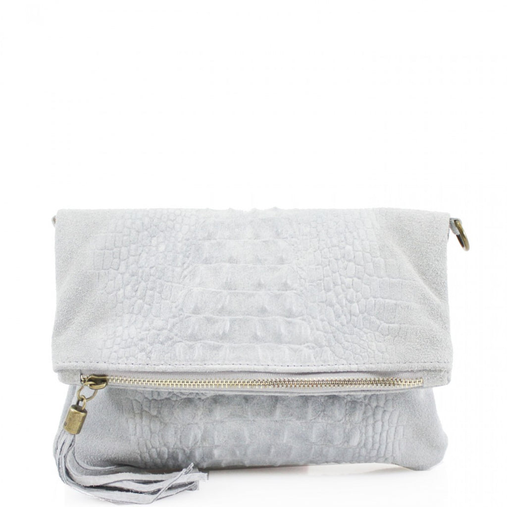 Grey Croc Foldover Suede Clutch Bag