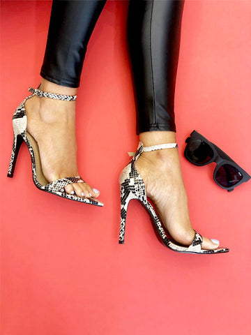 Snake Print Pointed Barely There Heels