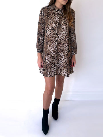 Snake Print Swing Shirt Dress