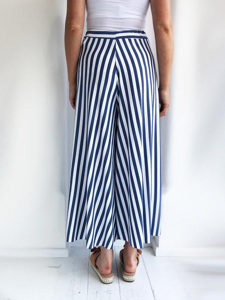 Blue Striped Culottes