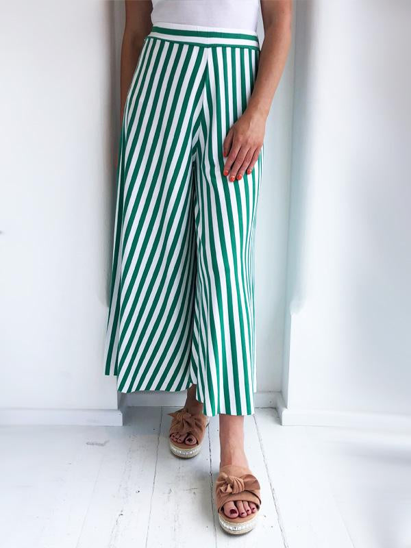 Green Striped Culottes