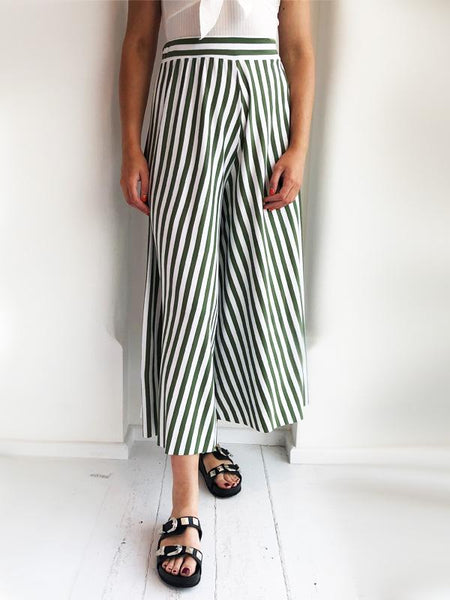 Khaki Striped Culottes