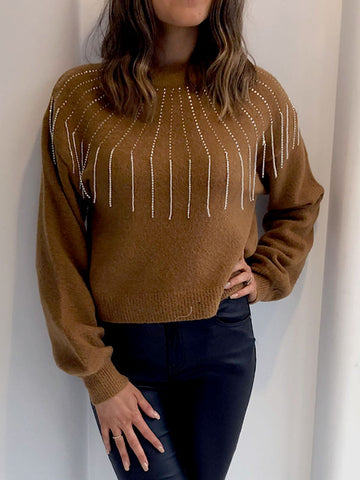 Tan Diamante Drop Jumper