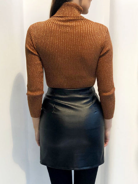 Rust Sparkle Polo Neck Jumper