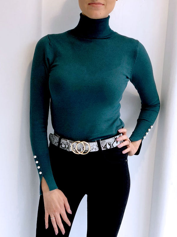 Pearl Detail Roll Neck Jumper - Teal