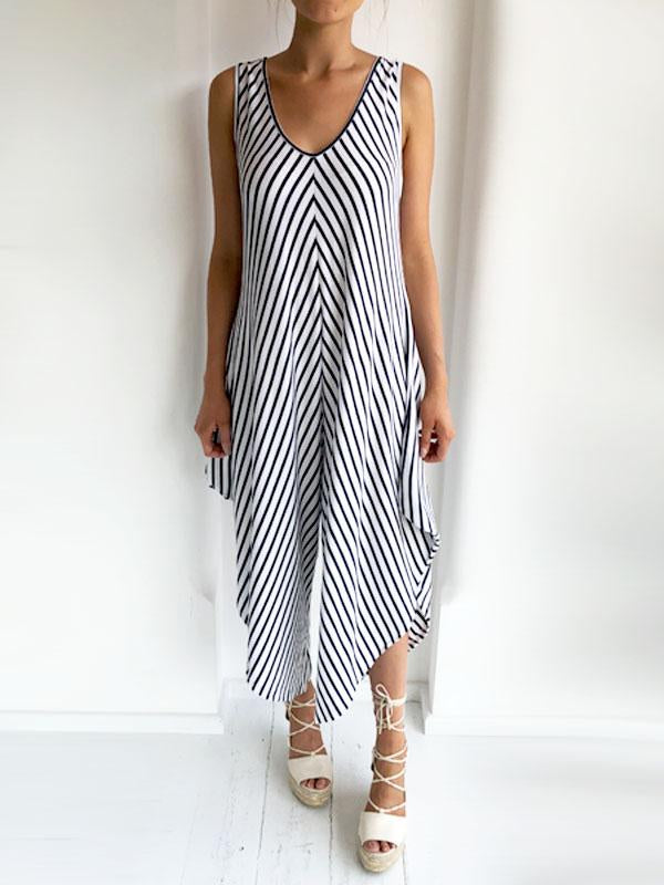 White & Navy Striped Wide Sleeve Jersey Jumpsuit