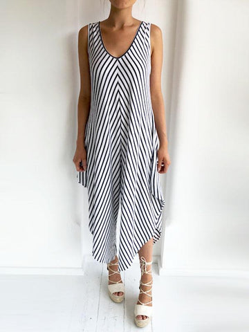 84a17628ba White   Navy Striped Wide Sleeve Jersey Jumpsuit