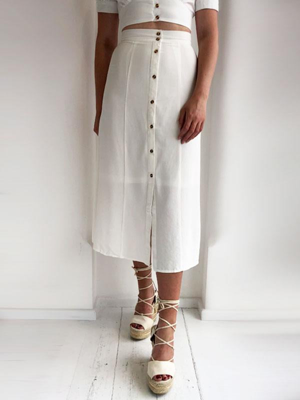 White Button Down Midi Skirt