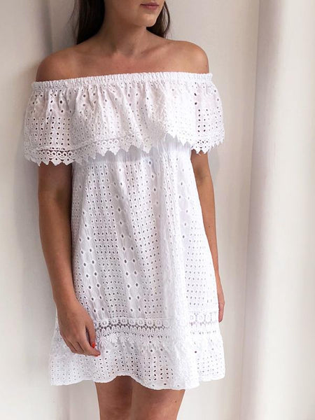 White Crochet Frill Off The Shoulder Summer Dress