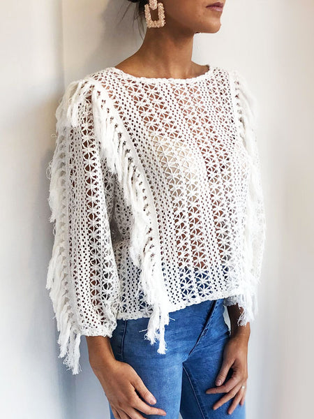 White Crochet Tassel Top