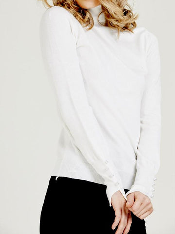 Pearl Detail Roll Neck Jumper - White