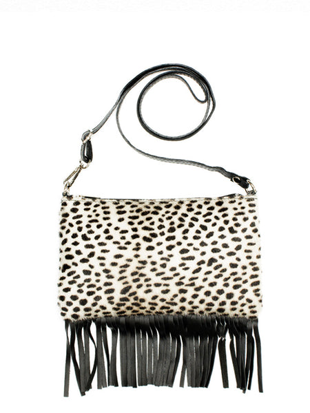 Animal Print Fringed Trim Cross body Bag