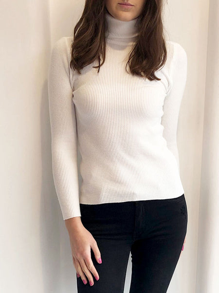 White Ribbed Polo Jumper