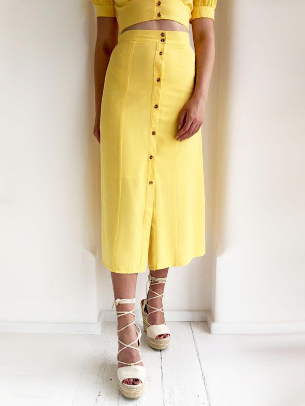 Yellow Button Down Midi Skirt