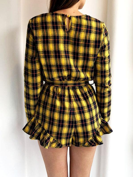 Yellow Tartan Frill Hem Belted Playsuit