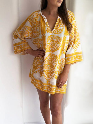 Yellow Embroidered Summer Dress