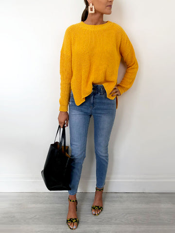 Yellow Drop Hem Jumper