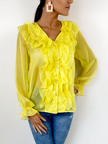 Yellow Sheer Ruffle Front Blouse
