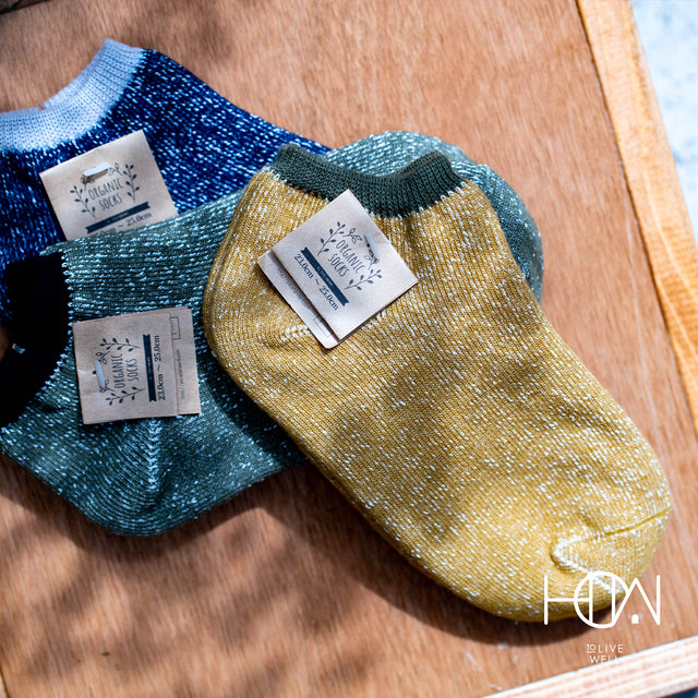 Ashi tabi | Hemp and Japanese paper ankle socks (Yellow)