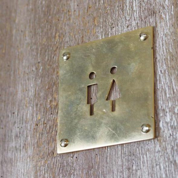 Brass Toilet Sign