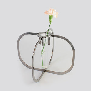 One flower vase - Black chrome