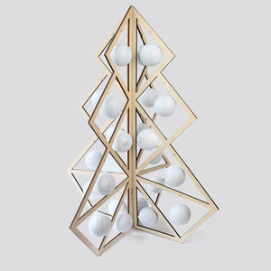 Tree24 reusable advent calendar - Wooden, white balls