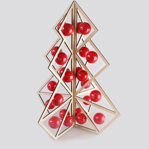 Tree24 reusable advent calendar - Wooden, red balls