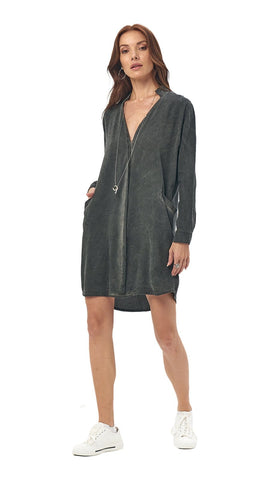 khushclothing DRESSES ASPIRE CHEMISE SHIRT STYLE MINI DRESS - STONEWASH CHARCOAL