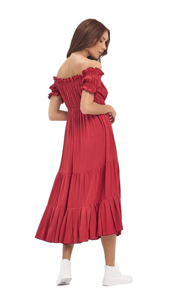 khushclothing DRESSES ASTRA OFF THE SHOULDER MIDI DRESS - CAP RED