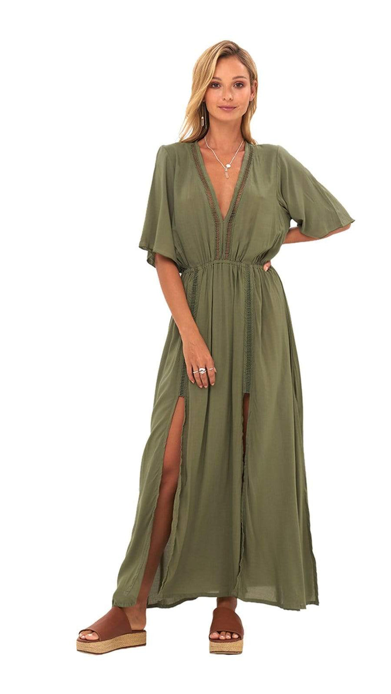khushclothing DRESSES MOARA MAXI DRESS - OLIVE GREEN