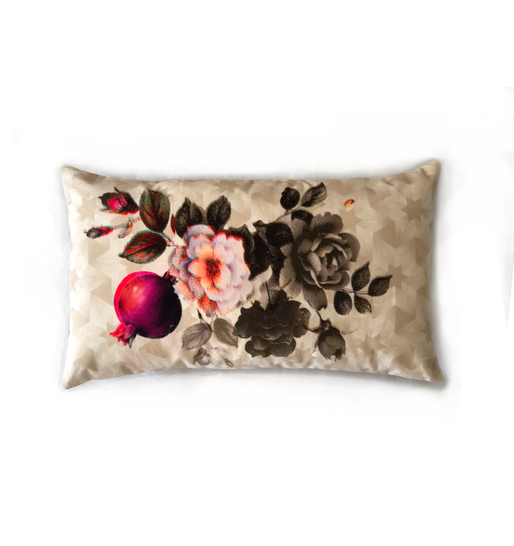 Pomegranate with Grey Flowers | velvet cushion