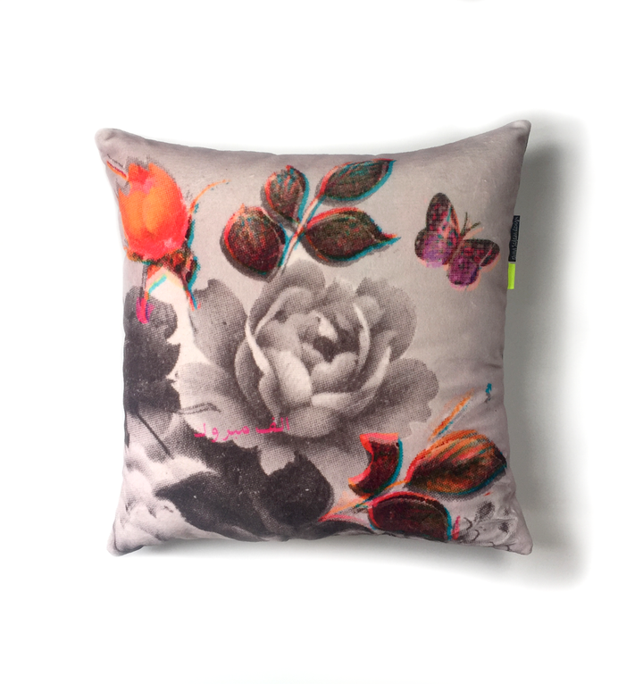 Flowers Grey with Pink Butterfly | Velvet cushion