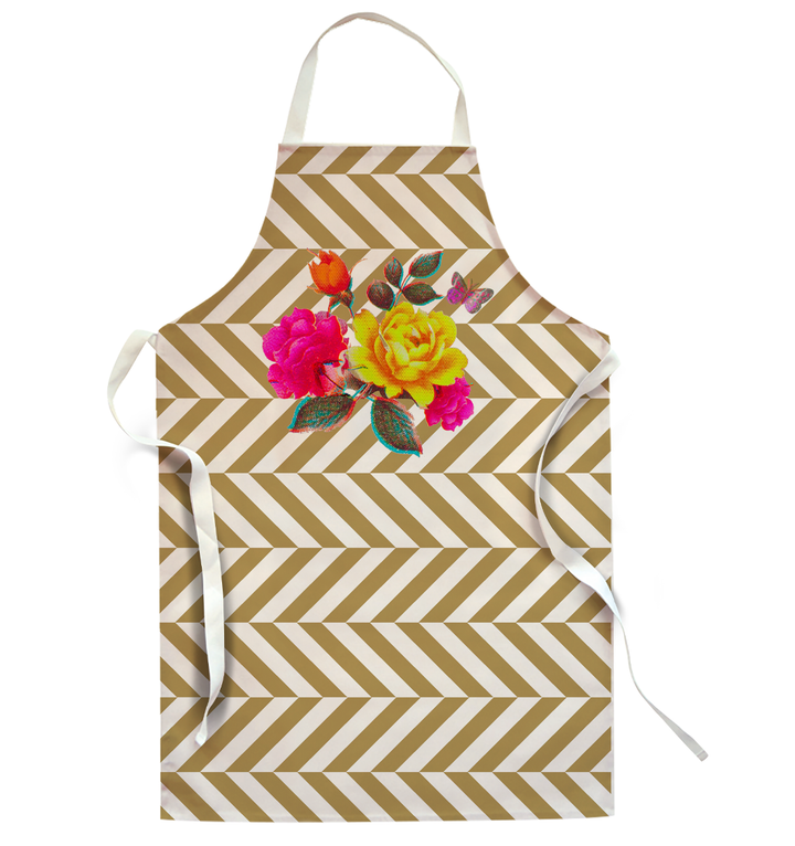 Flowers with Gold Zigzags | apron