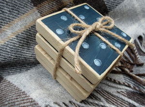 Wooden Coasters - Navy & Pale Blue
