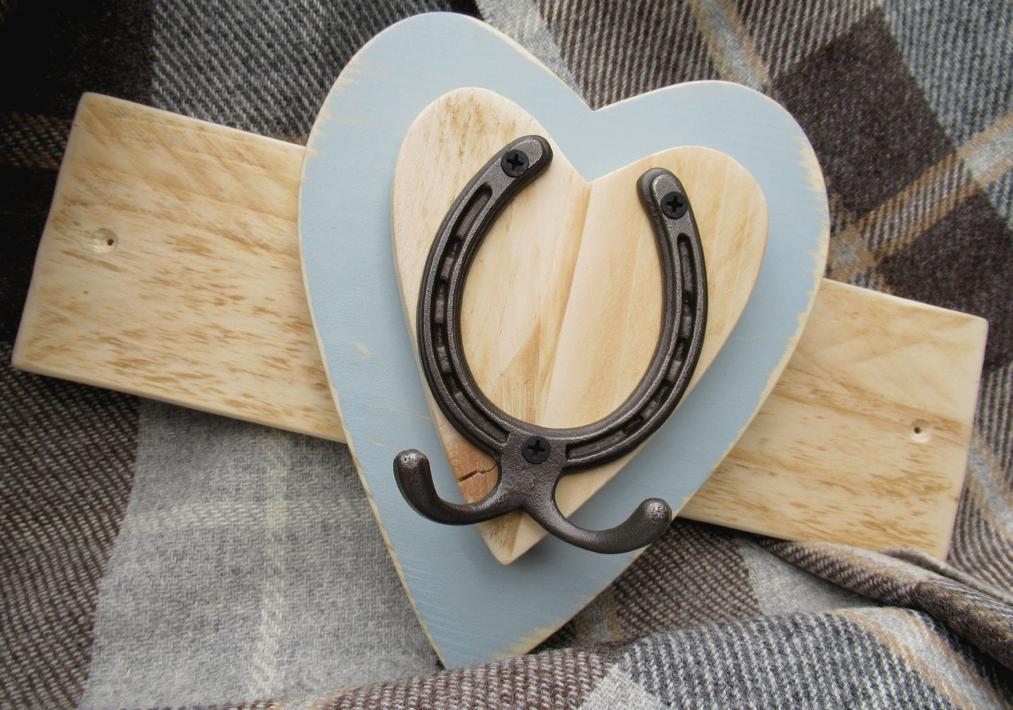 Horizontal Horseshoe Hook - Pale Blue