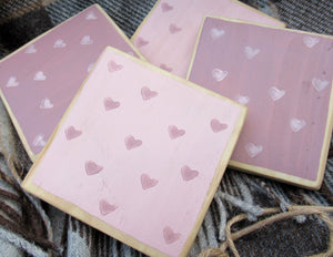 Wooden Coasters - Pink & Mauve