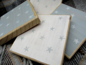 Wooden Coasters- Duck Egg Blue & White
