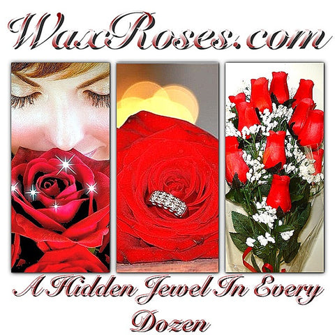 wax roses, jewelry candles, jewelry in candles, candles with jewelry