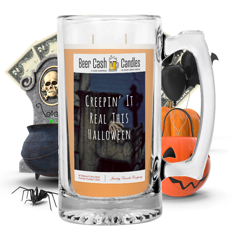 Creepin' real this halloween Beer Cash Candle