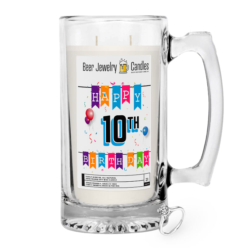 Happy 10th Birthday Beer Jewelry Candle