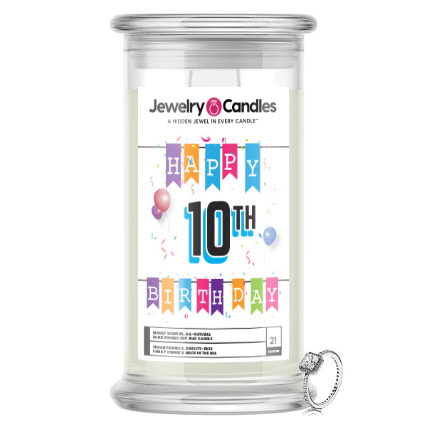 Happy 10th Birthday Jewelry Candle
