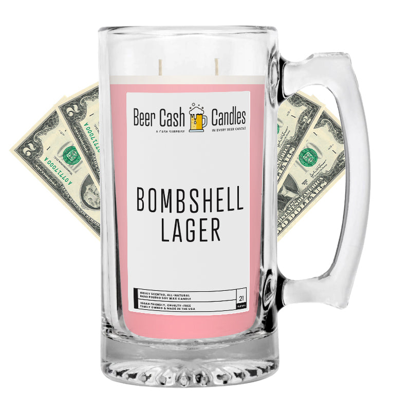 Bombshell Lager Beer Cash Candle