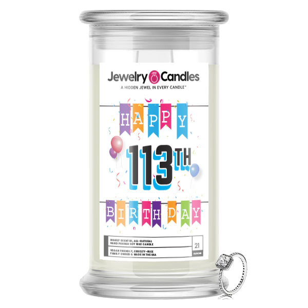 Happy 113th Birthday Jewelry Candle