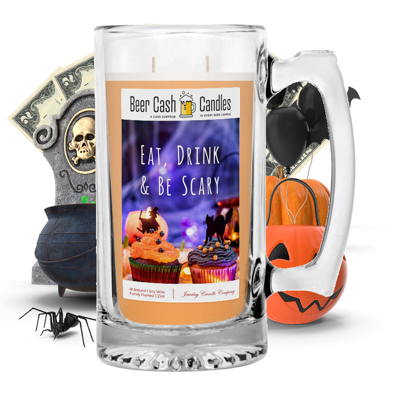 Eat, Drink & Be scary Beer Cash Candle