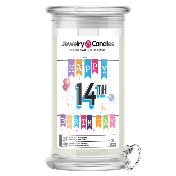 Happy 14th Birthday Jewelry Candle