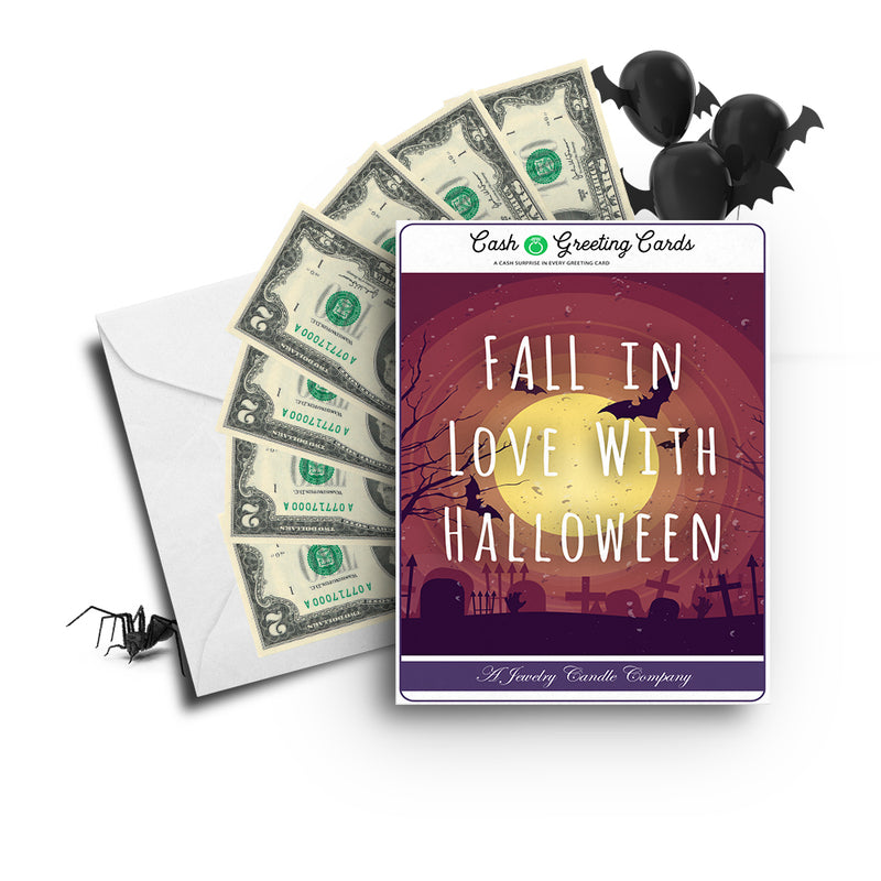 Fall in love with halloween Cash Greetings Card
