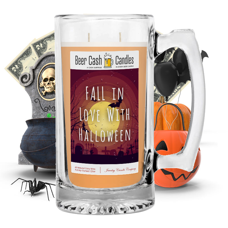 Fall in love with halloween Beer Cash Candle
