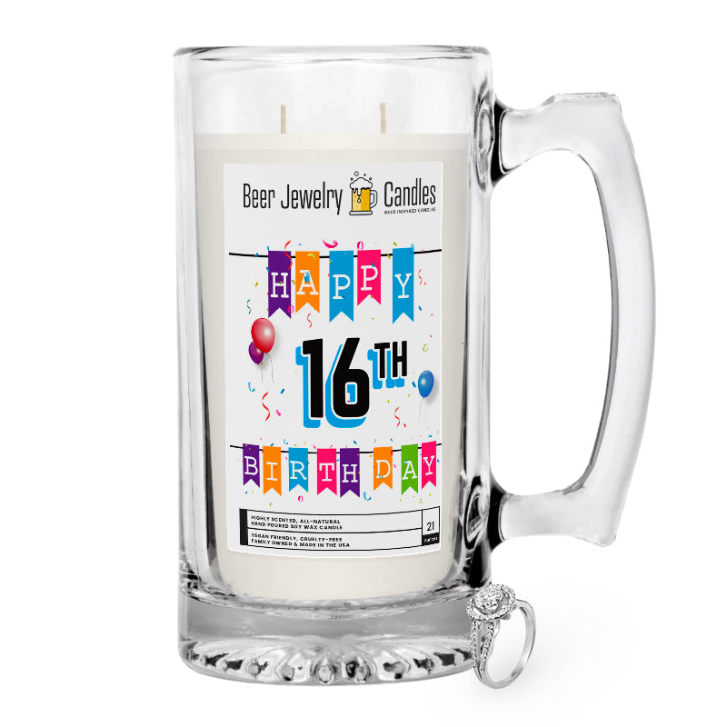 Happy 16th Birthday Beer Jewelry Candle
