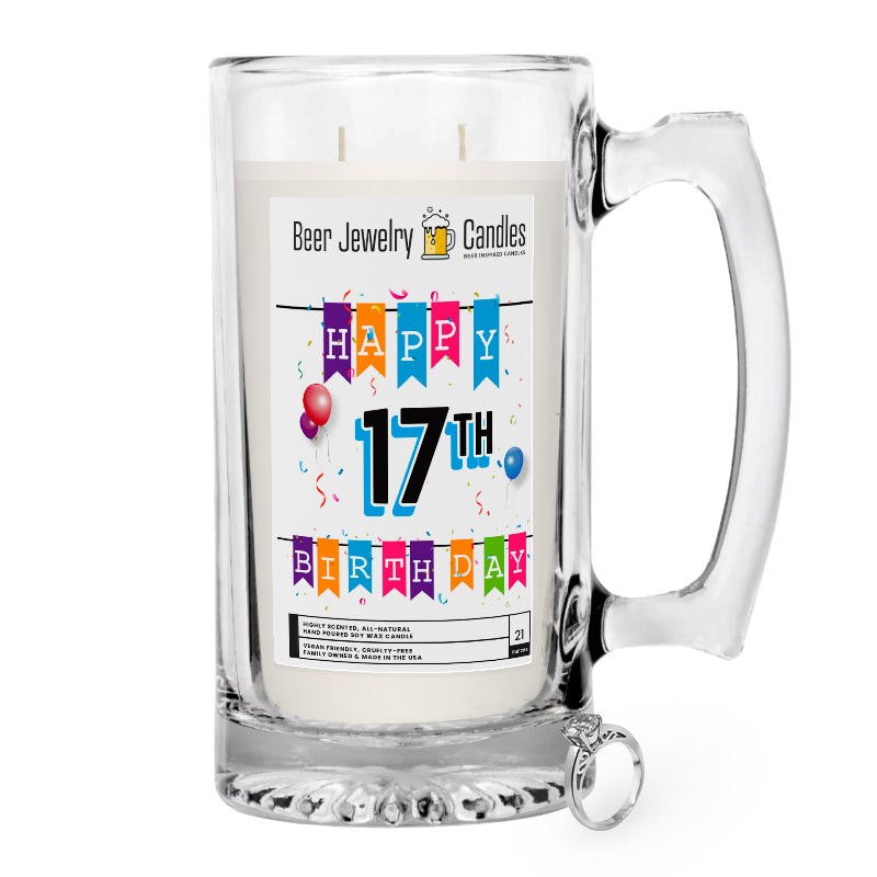 Happy 17th Birthday Beer Jewelry Candle