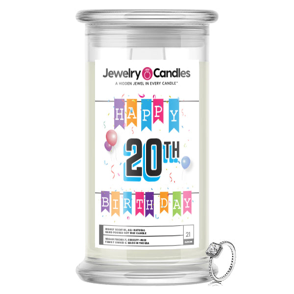 Happy 20th Birthday Jewelry Candle